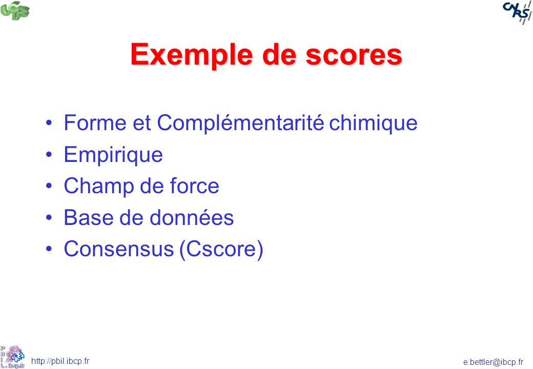 Exemple de scores Forme et Complémentarité chimique Empirique