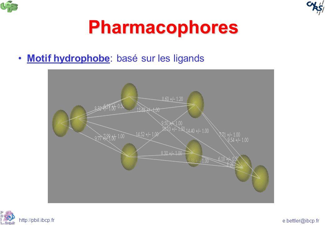Pharmacophores Motif hydrophobe: basé sur les ligands