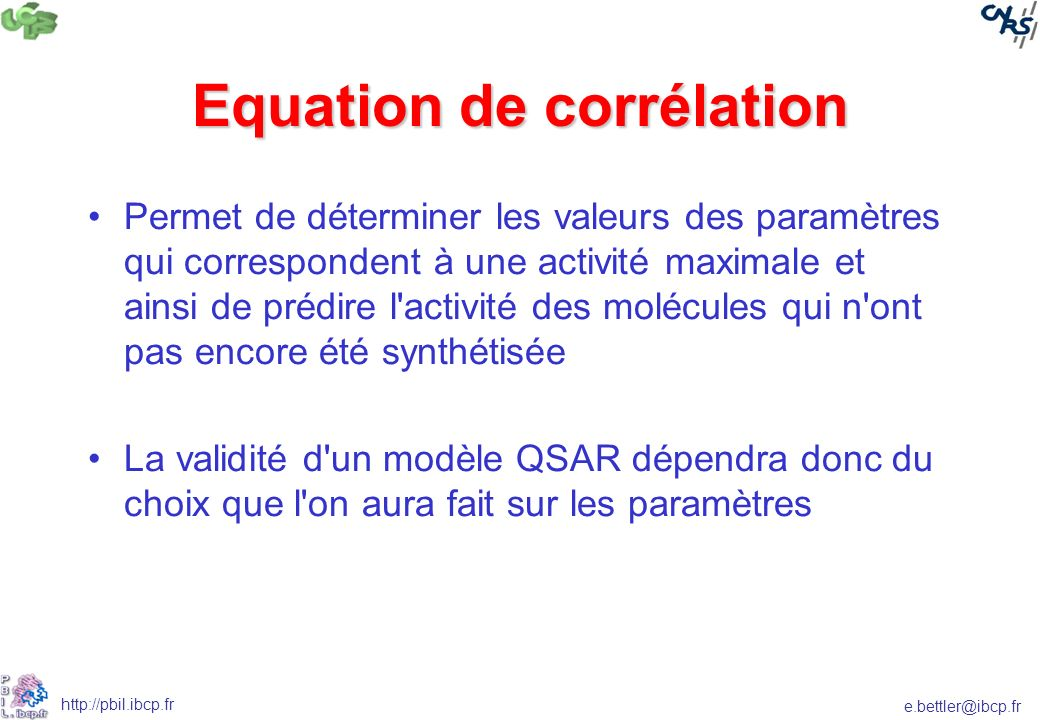 Equation de corrélation