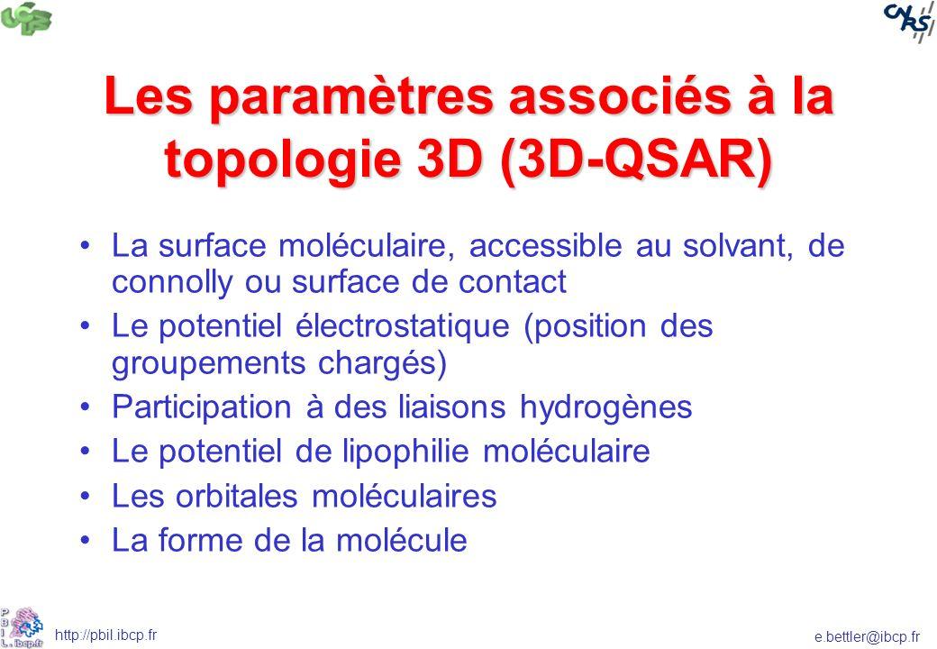 Les paramètres associés à la topologie 3D (3D-QSAR)