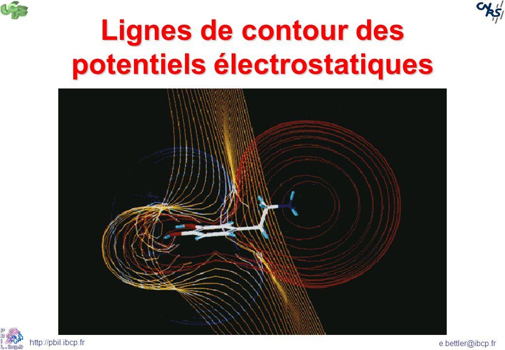 Lignes de contour des potentiels électrostatiques