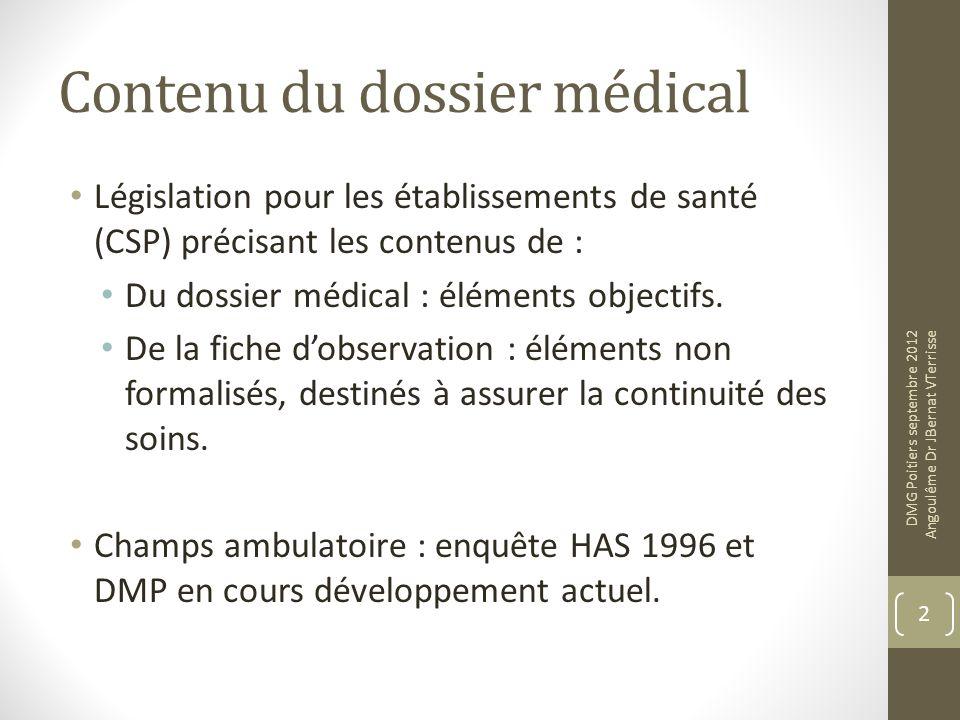 Contenu du dossier médical