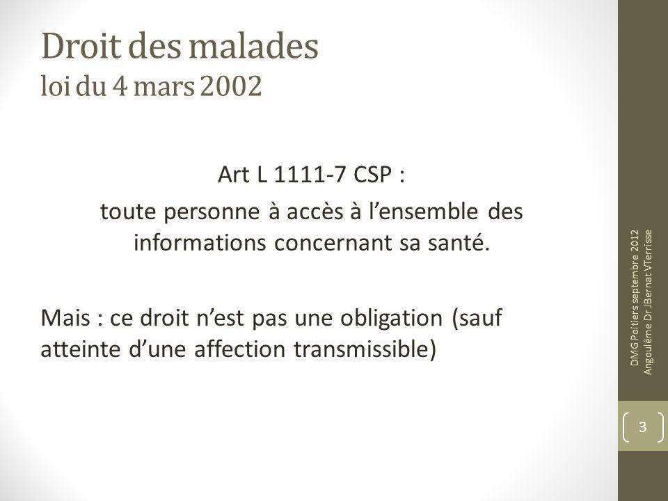 Droit des malades loi du 4 mars 2002