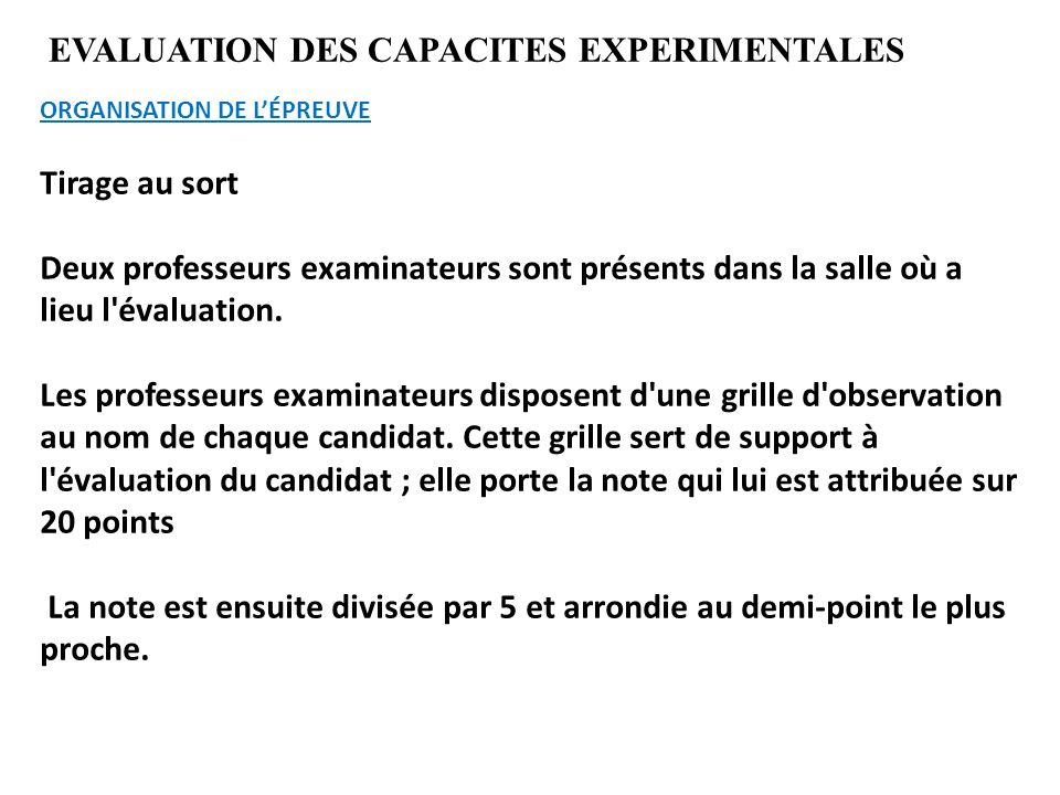 EVALUATION DES CAPACITES EXPERIMENTALES