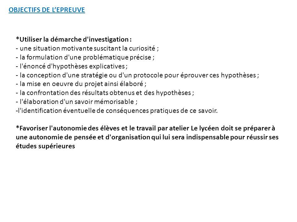 OBJECTIFS DE L'EPREUVE