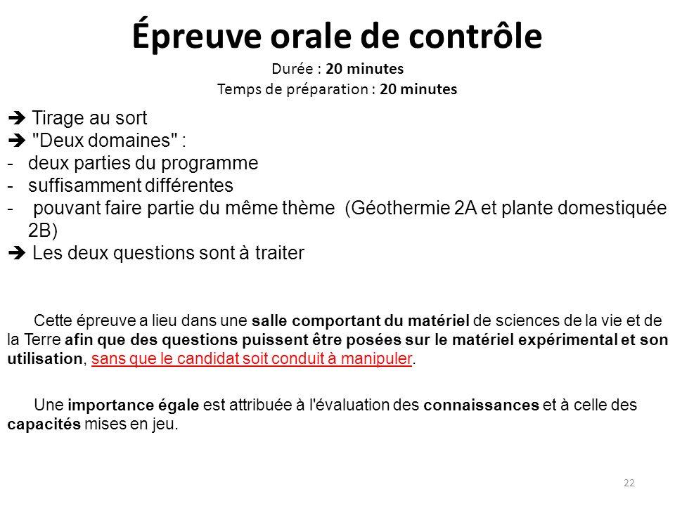 Épreuve orale de contrôle Durée : 20 minutes Temps de préparation : 20 minutes