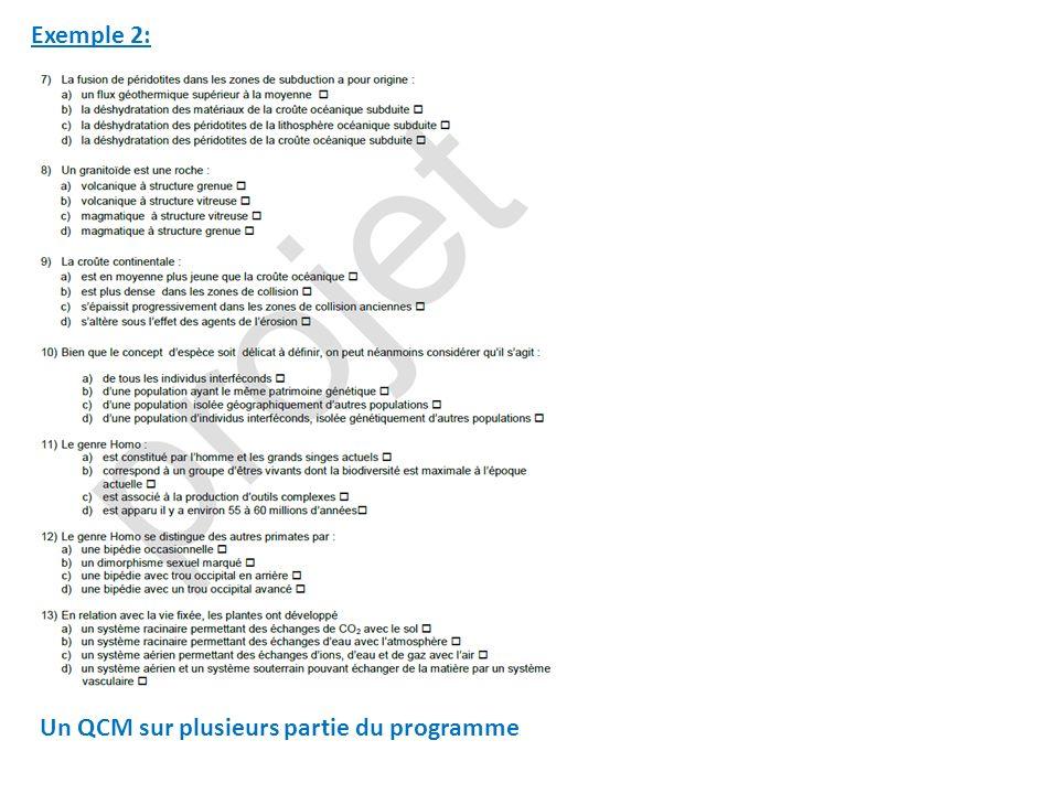 Exemple 2: Un QCM sur plusieurs partie du programme