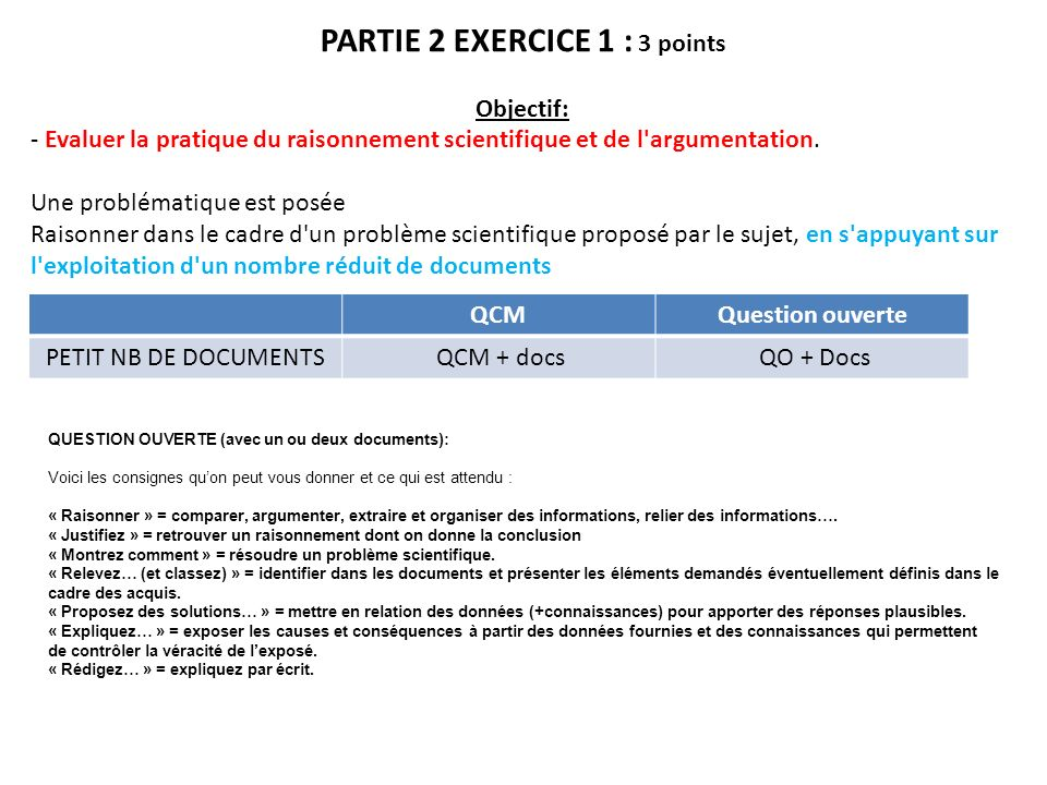 PARTIE 2 EXERCICE 1 : 3 points