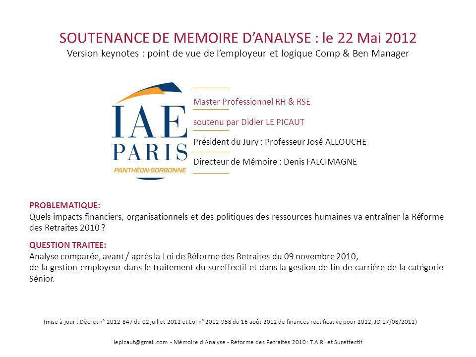 SOUTENANCE DE MEMOIRE D'ANALYSE : le 22 Mai 2012 Version keynotes : point de vue de l'employeur et logique Comp & Ben Manager