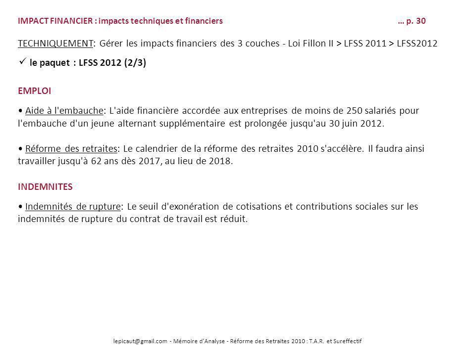 IMPACT FINANCIER : impacts techniques et financiers … p. 30