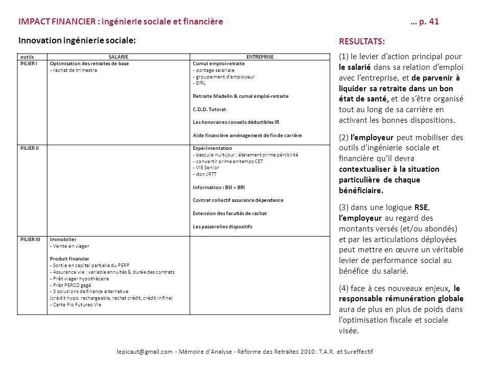 IMPACT FINANCIER : ingénierie sociale et financière … p. 41
