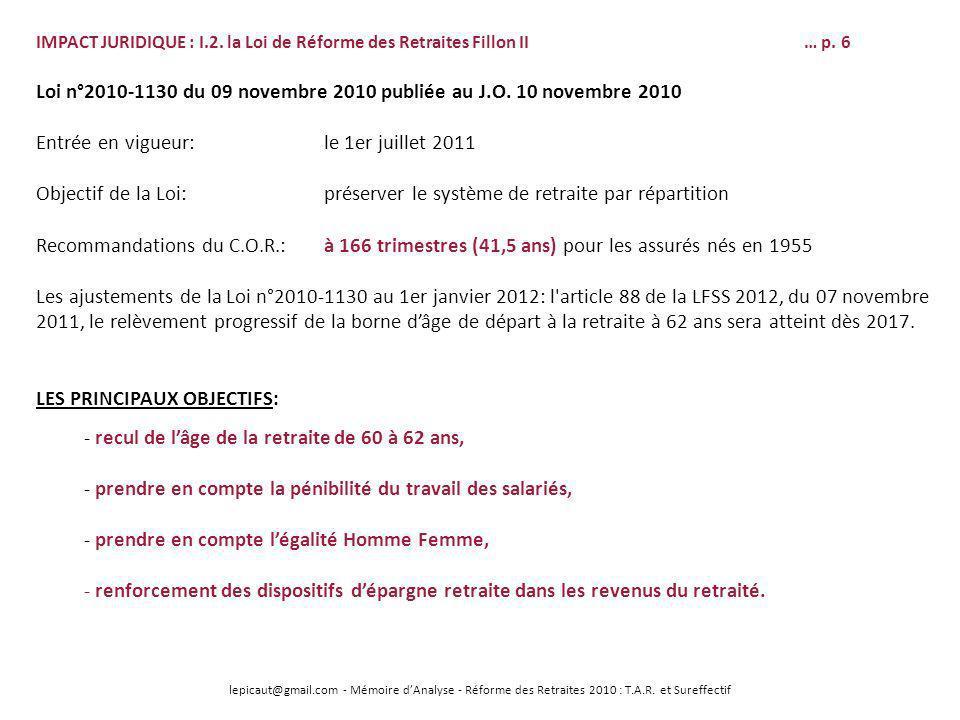 Loi n°2010-1130 du 09 novembre 2010 publiée au J.O. 10 novembre 2010