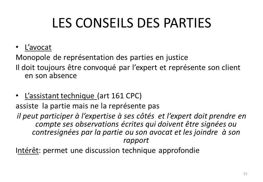 LES CONSEILS DES PARTIES