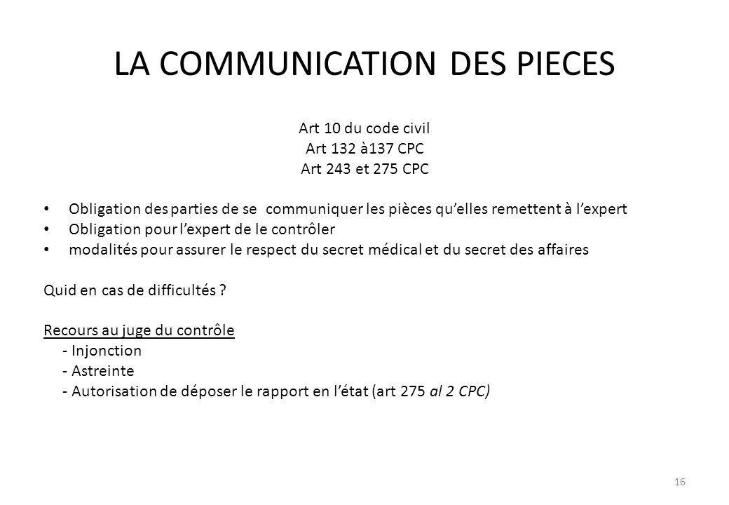 LA COMMUNICATION DES PIECES