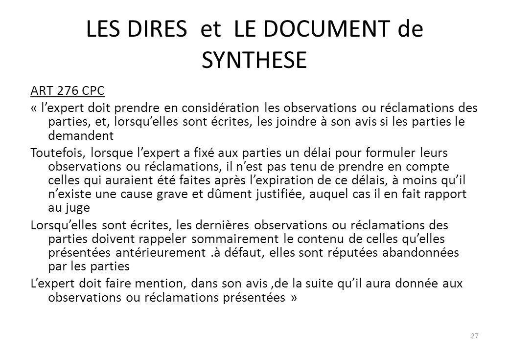 LES DIRES et LE DOCUMENT de SYNTHESE