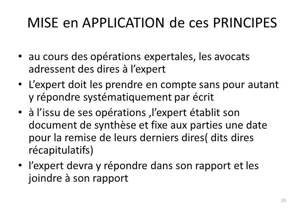 MISE en APPLICATION de ces PRINCIPES