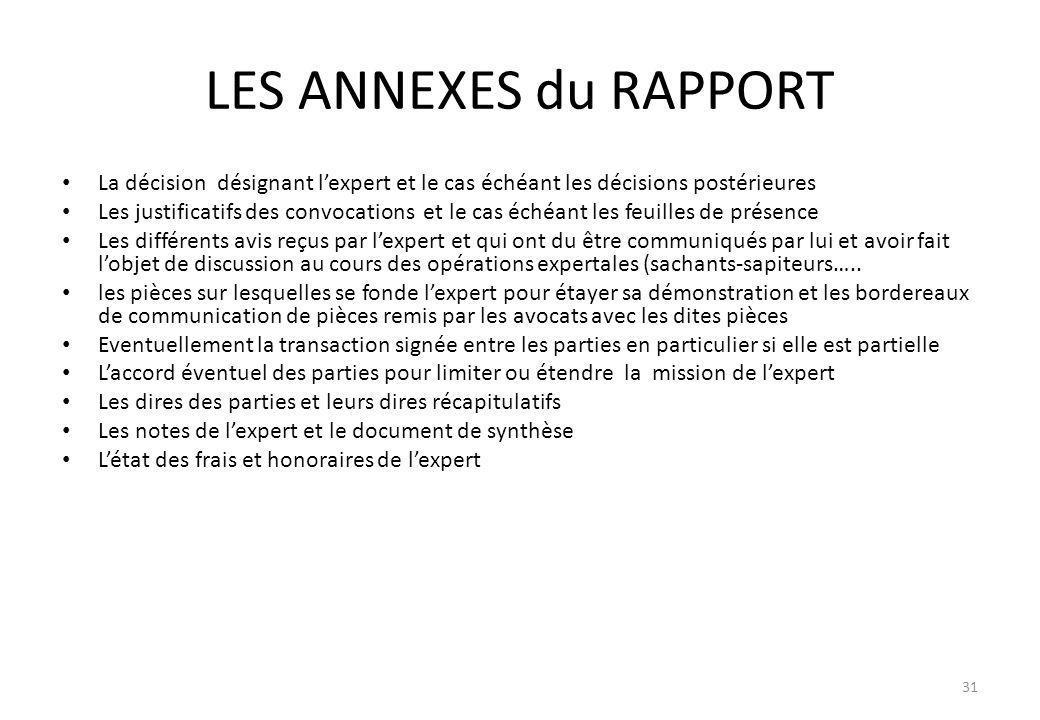 LES ANNEXES du RAPPORT La décision désignant l'expert et le cas échéant les décisions postérieures.