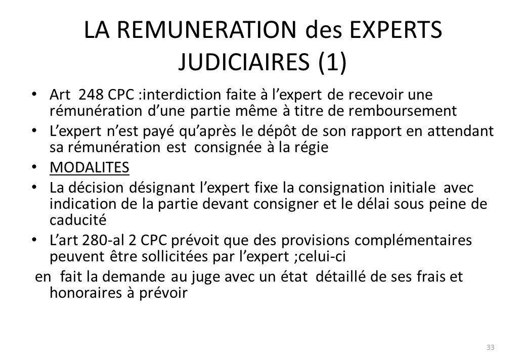 LA REMUNERATION des EXPERTS JUDICIAIRES (1)