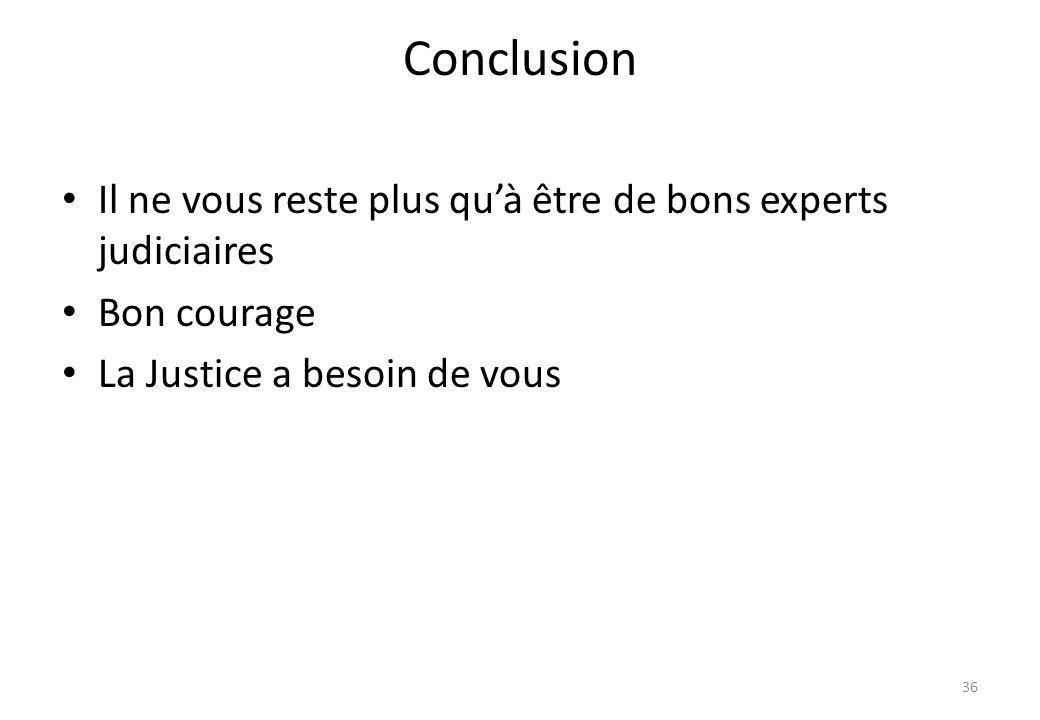 Conclusion Il ne vous reste plus qu'à être de bons experts judiciaires