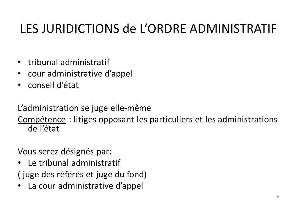 LES JURIDICTIONS de L'ORDRE ADMINISTRATIF