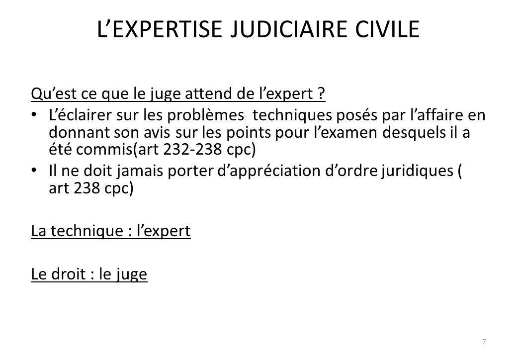 L'EXPERTISE JUDICIAIRE CIVILE