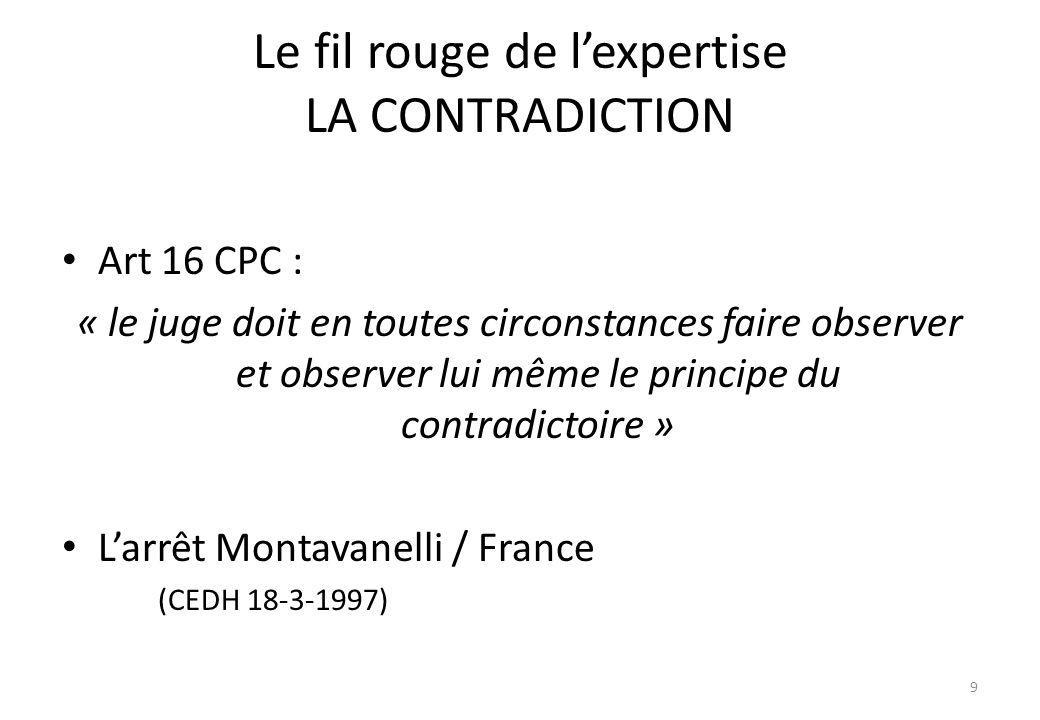 Le fil rouge de l'expertise LA CONTRADICTION