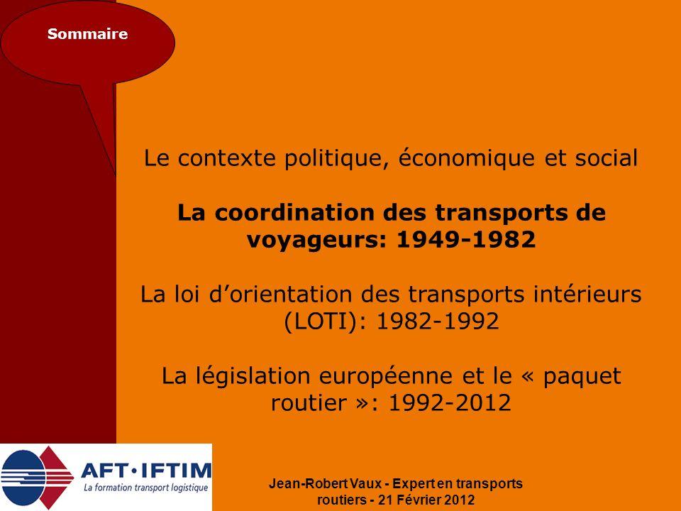 La coordination des transports de voyageurs: 1949-1982