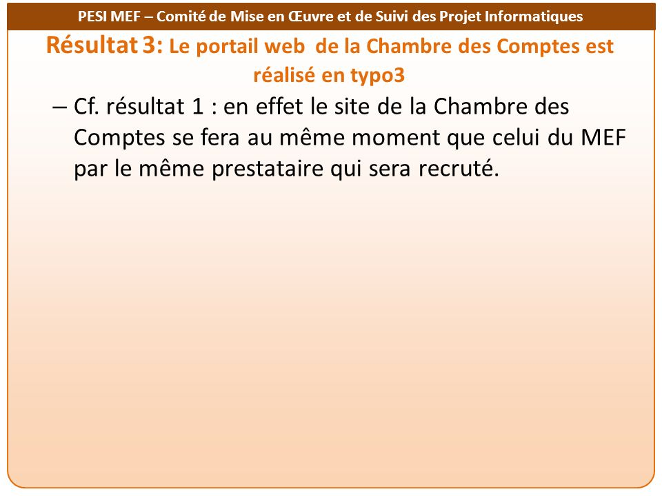 Résultat 3: Le portail web de la Chambre des Comptes est réalisé en typo3