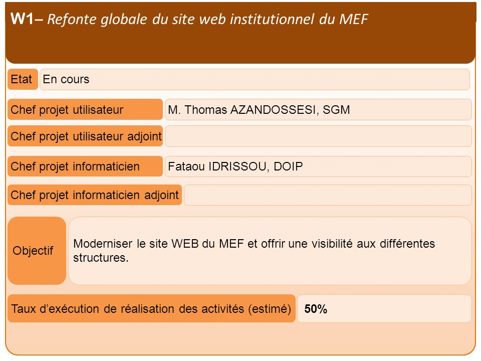 W1– Refonte globale du site web institutionnel du MEF
