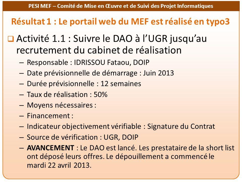 Résultat 1 : Le portail web du MEF est réalisé en typo3