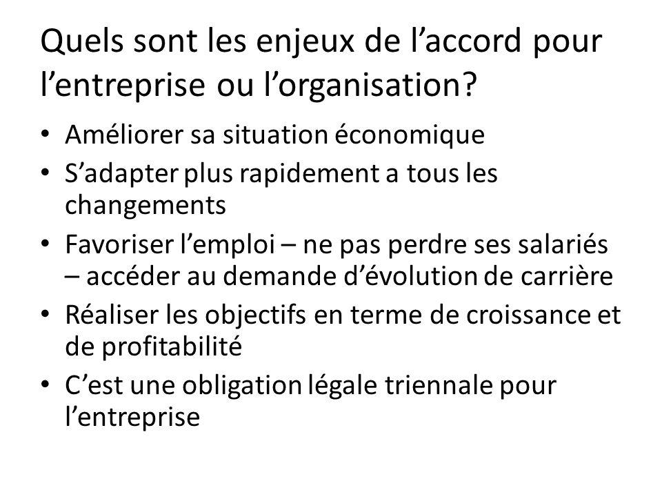 Quels sont les enjeux de l'accord pour l'entreprise ou l'organisation