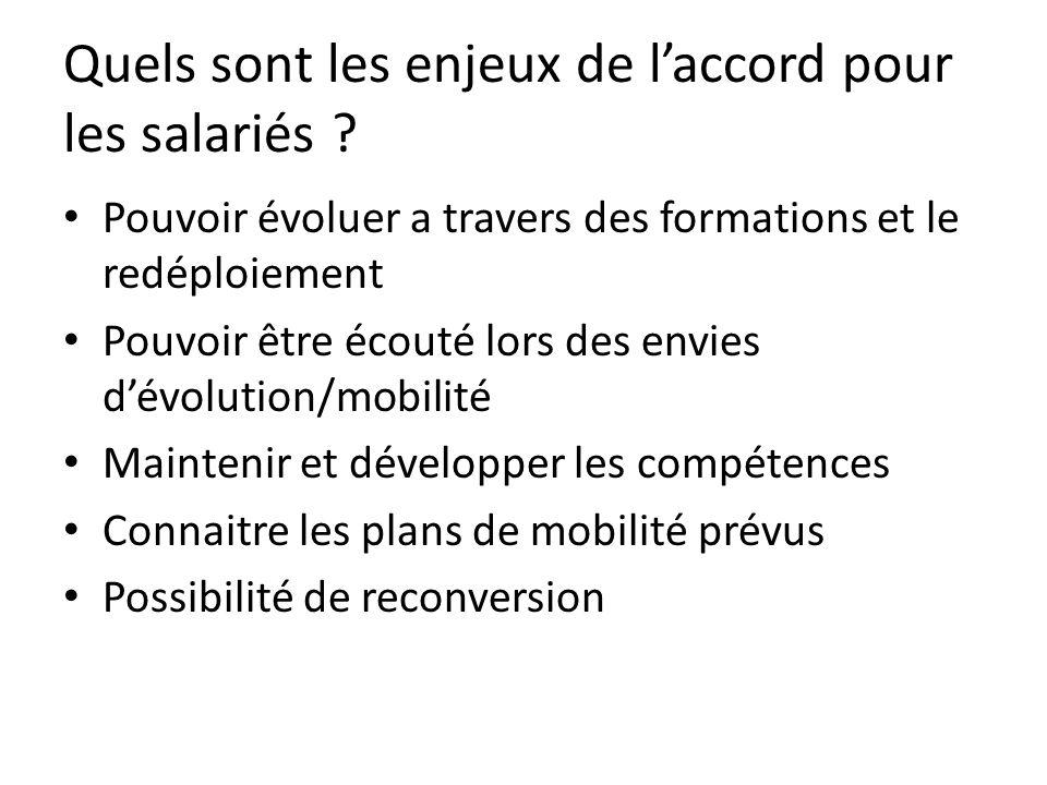 Quels sont les enjeux de l'accord pour les salariés