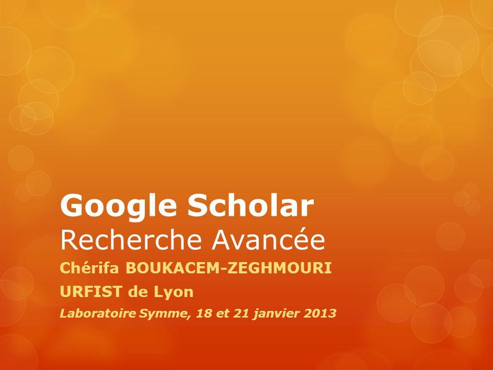 Google Scholar Recherche Avancée