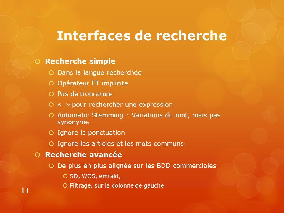 Interfaces de recherche