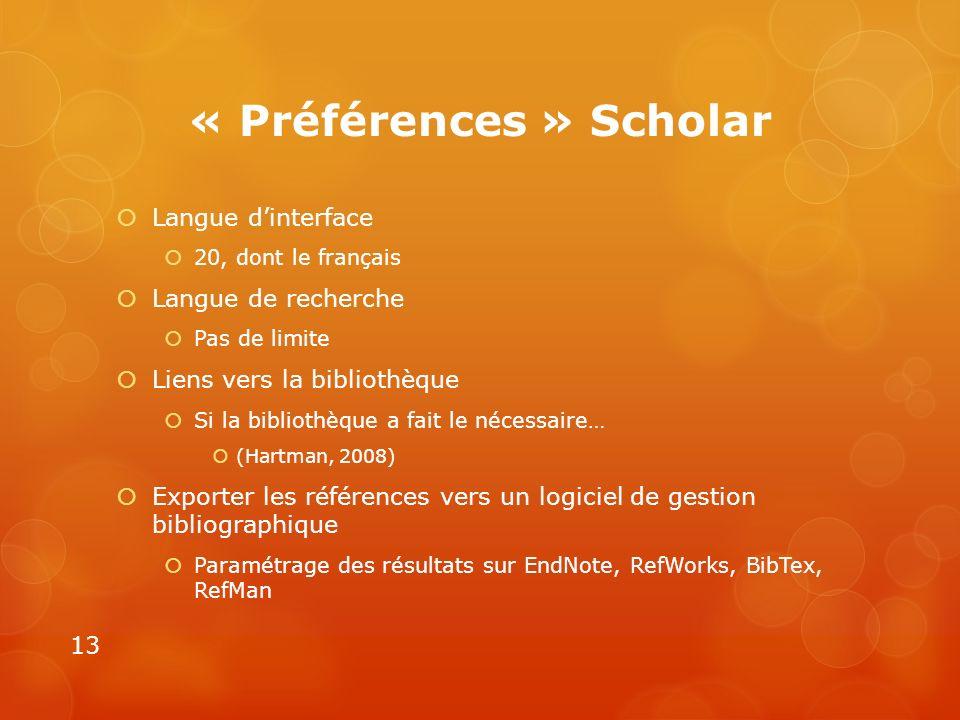 « Préférences » Scholar
