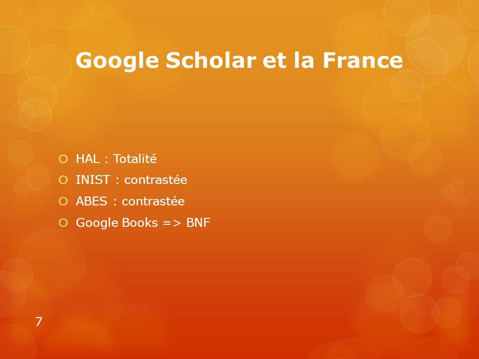 Google Scholar et la France