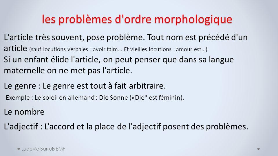 les problèmes d ordre morphologique