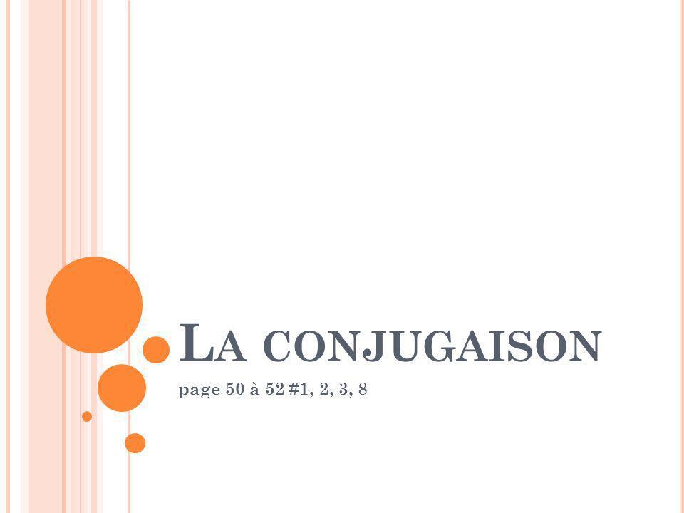 La conjugaison page 50 à 52 #1, 2, 3, 8