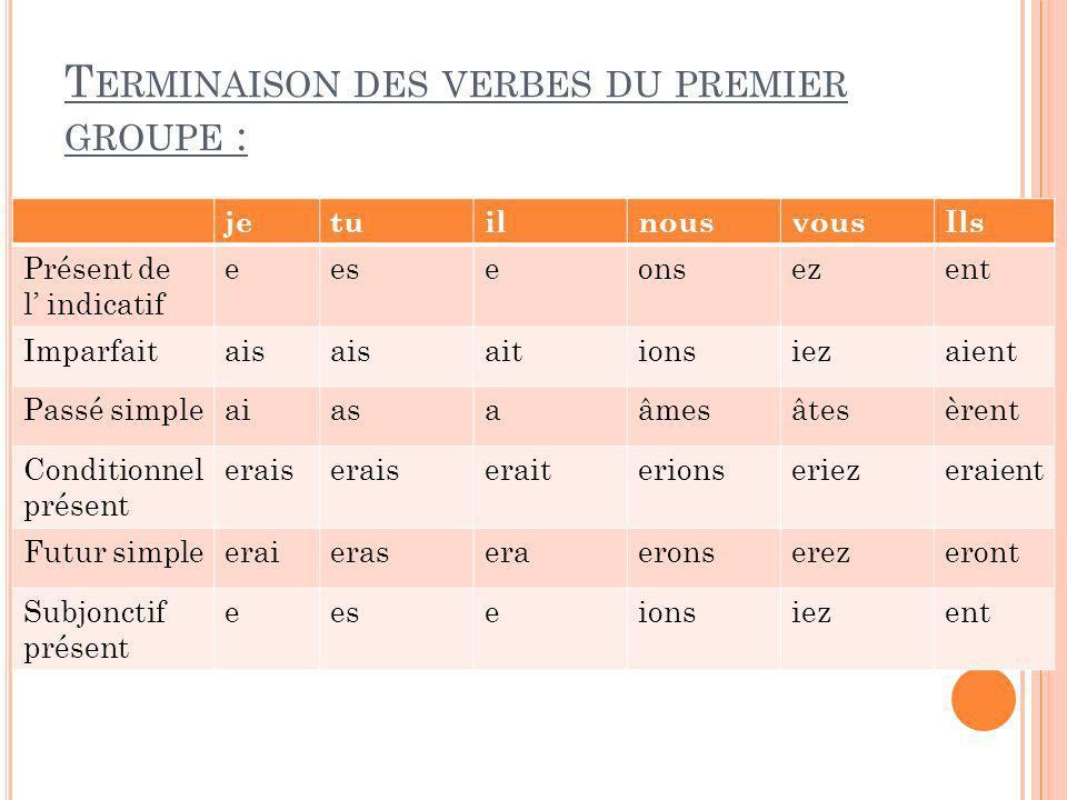 Terminaison des verbes du premier groupe :
