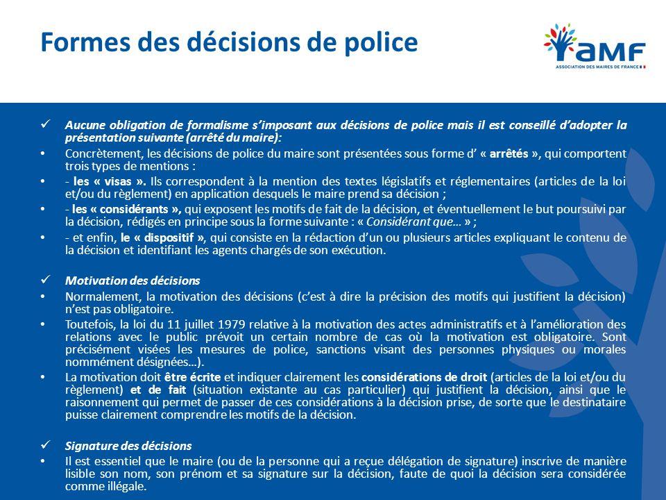 Formes des décisions de police