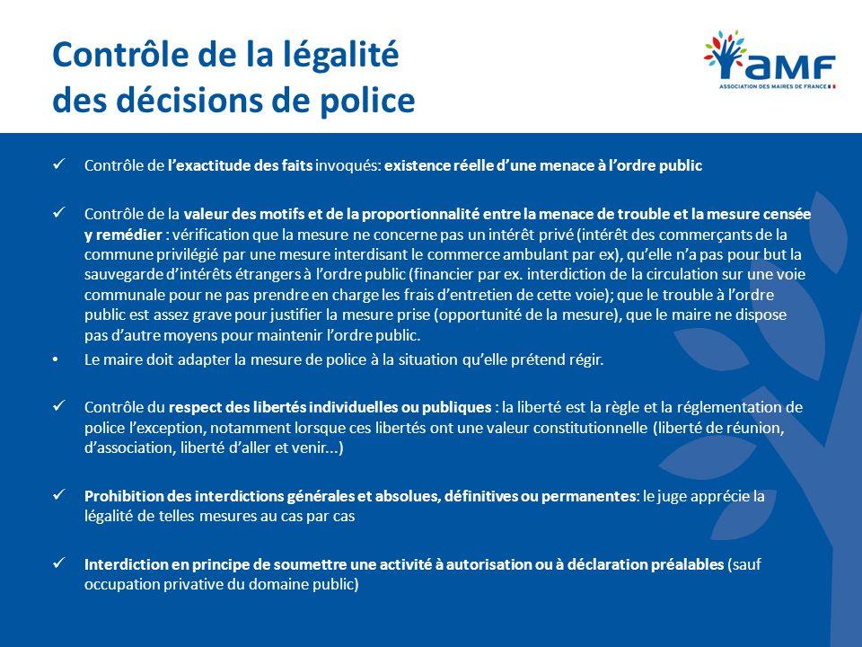 Contrôle de la légalité des décisions de police