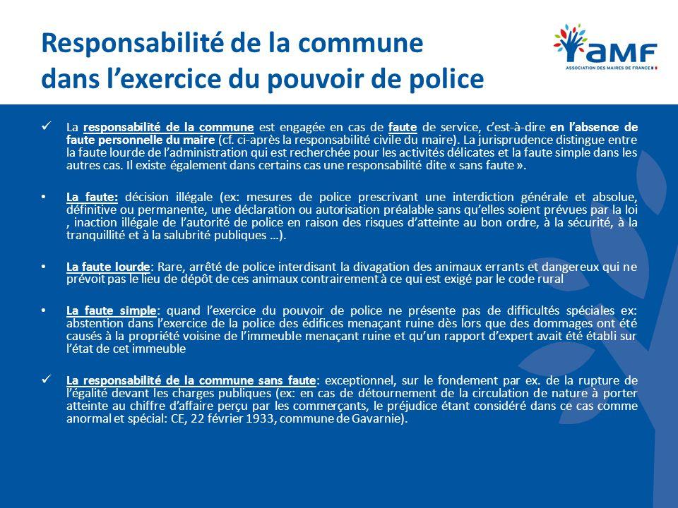 Responsabilité de la commune dans l'exercice du pouvoir de police