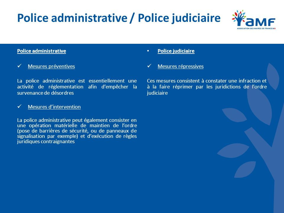 Police administrative / Police judiciaire