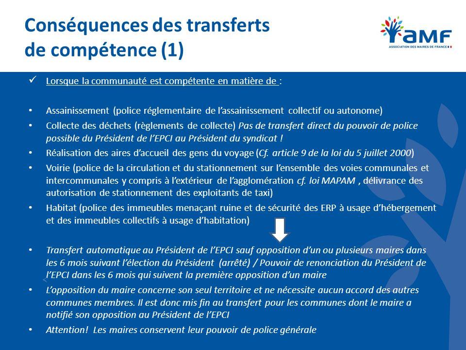 Conséquences des transferts de compétence (1)