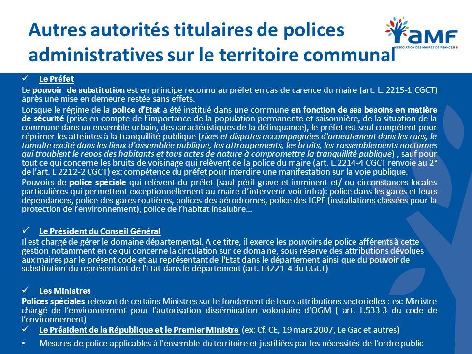 Autres autorités titulaires de polices administratives sur le territoire communal