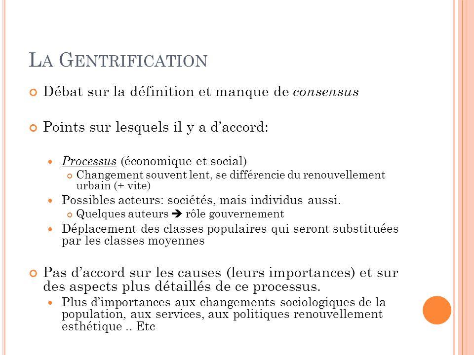 La Gentrification Débat sur la définition et manque de consensus