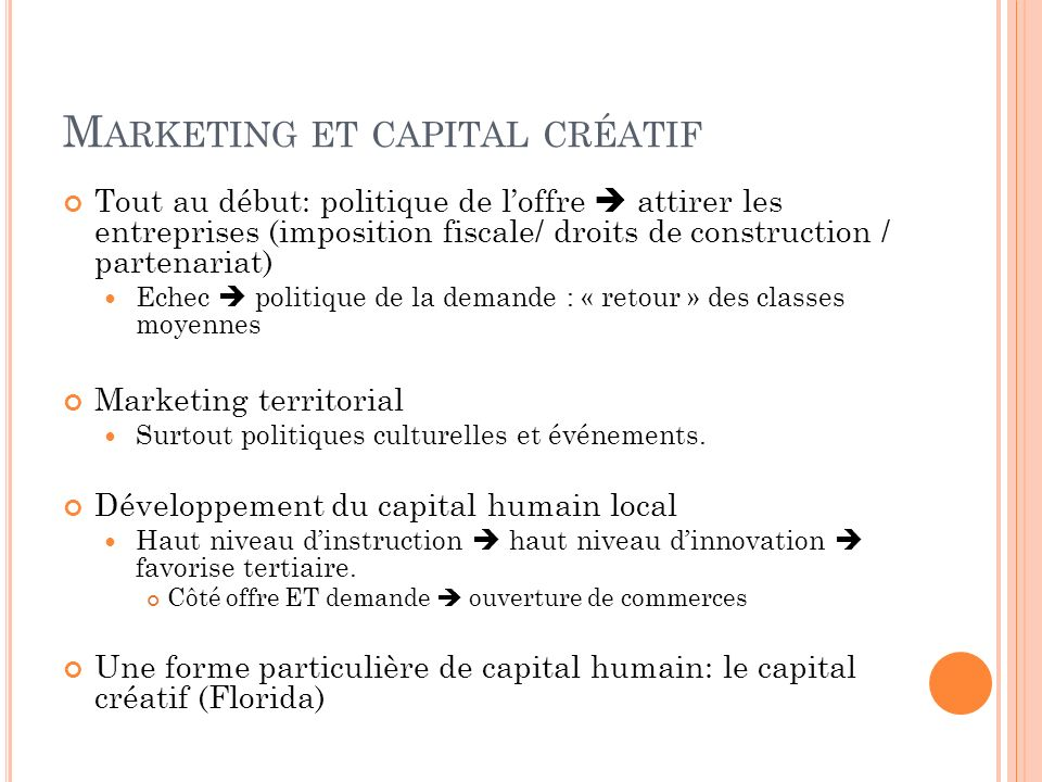 Marketing et capital créatif