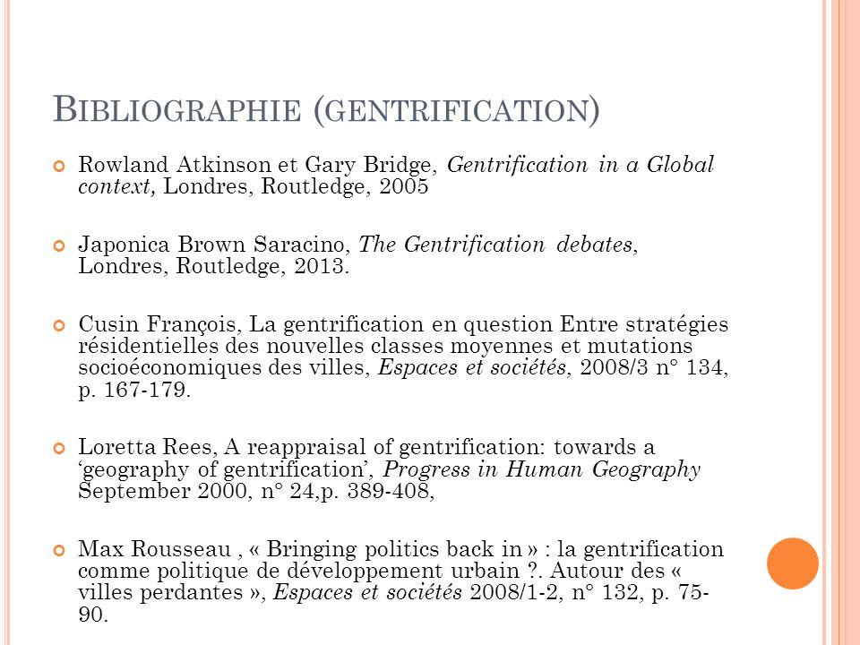 Bibliographie (gentrification)