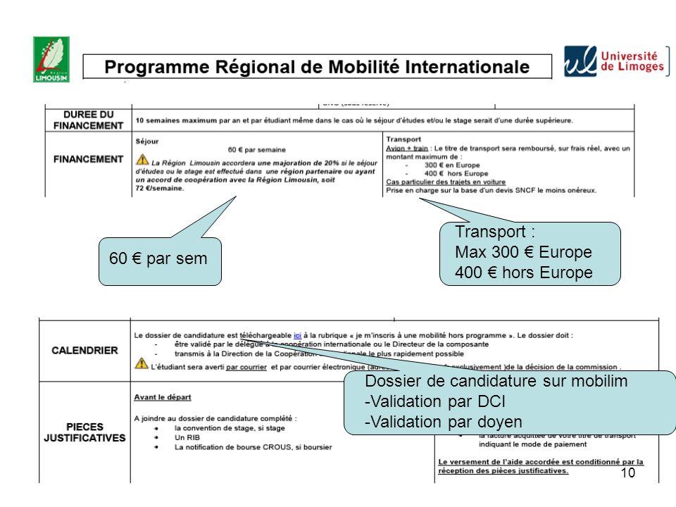 Transport : Max 300 € Europe. 400 € hors Europe. 60 € par sem. Dossier de candidature sur mobilim.