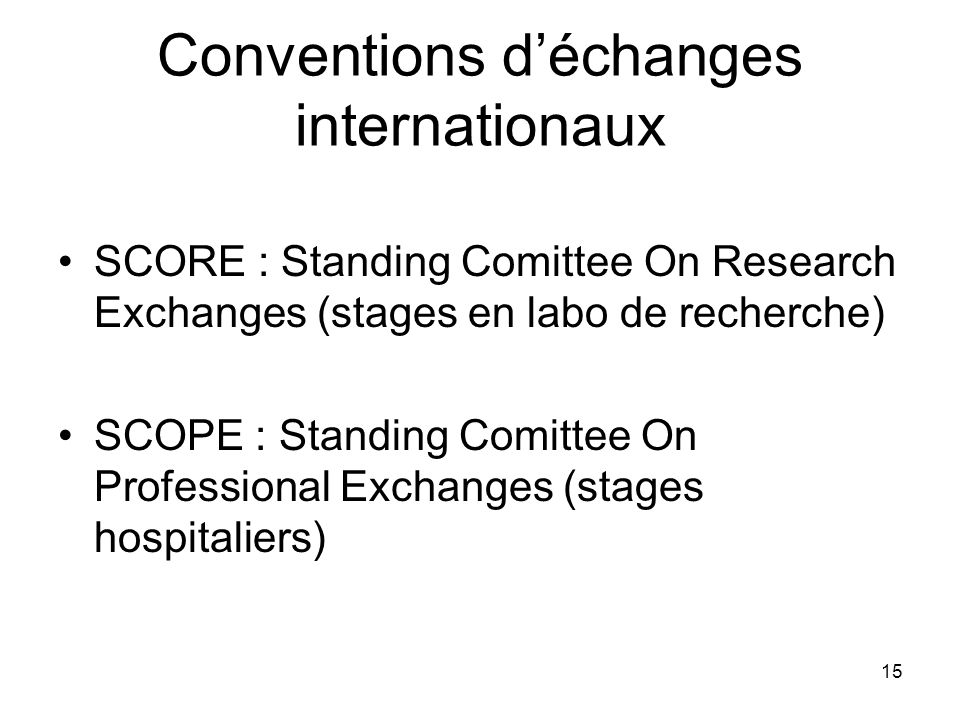 Conventions d'échanges internationaux